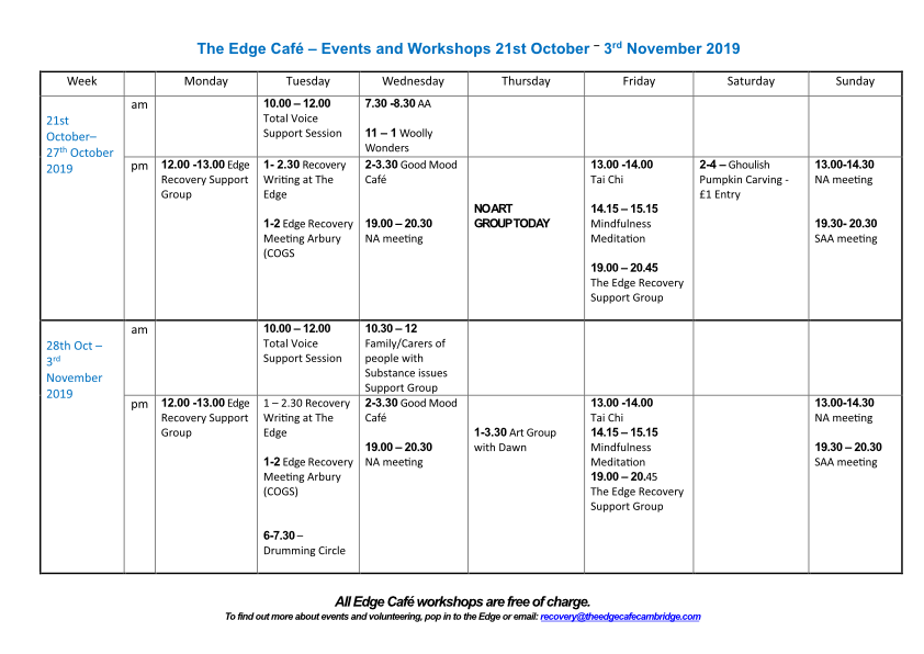 NEW Events and Workshops 21st Oct - 3rd Nov 2019