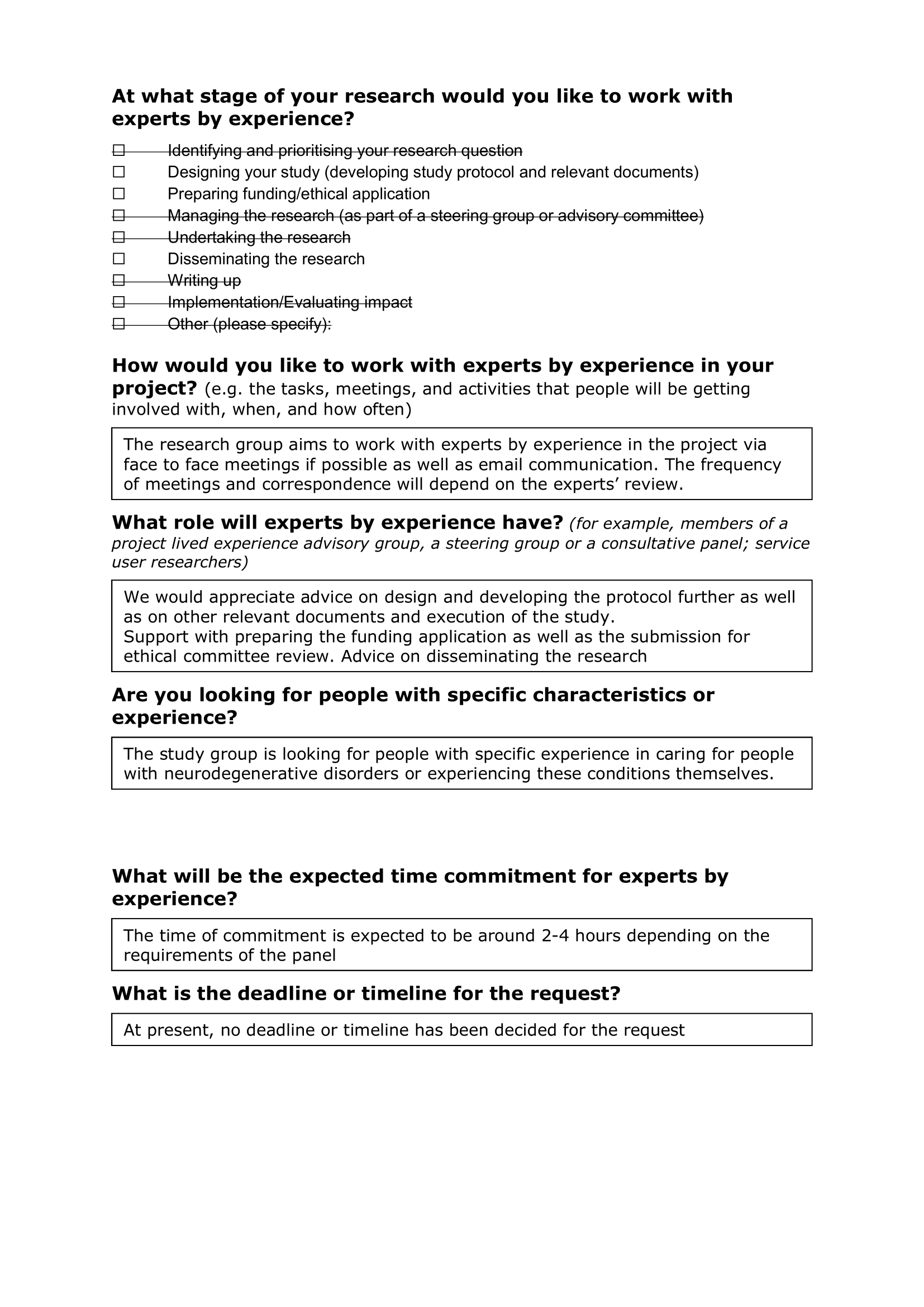 Dementia research form