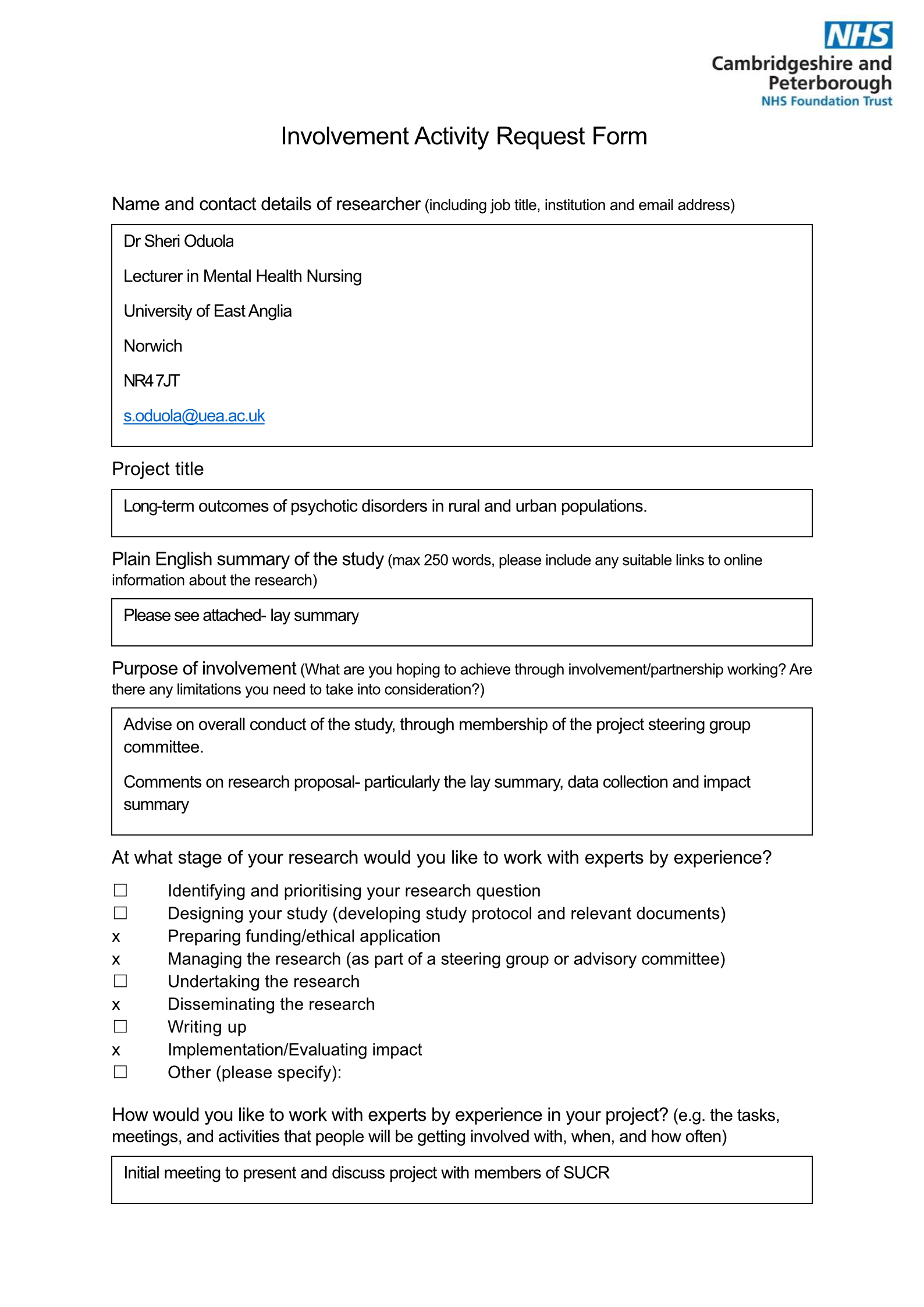 Oduola- SUCRG- Involvement Activity Request Form page 1
