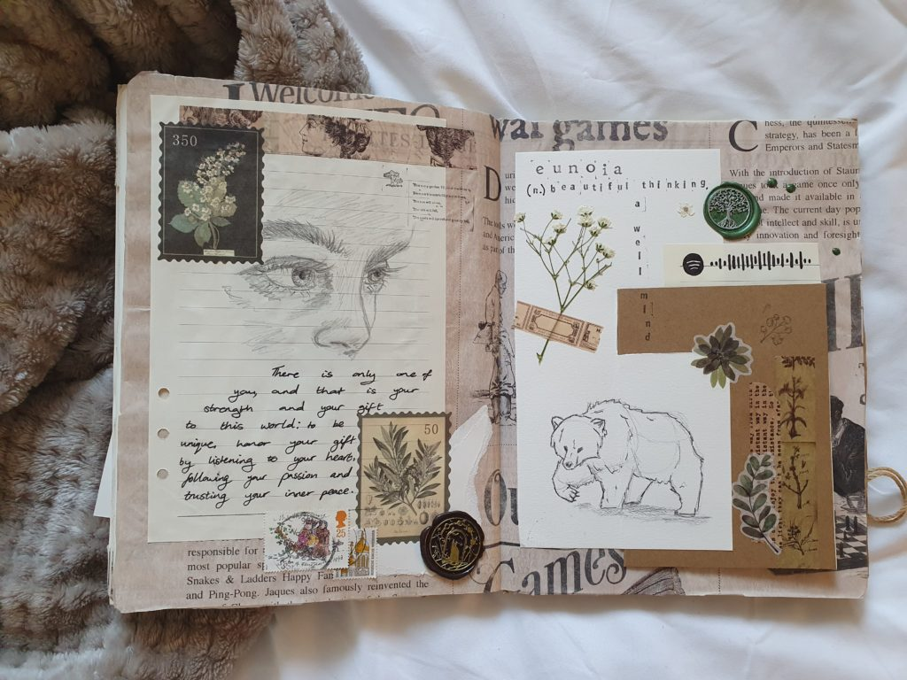 A double page spread of Vickie's sketchbook