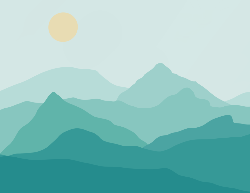 Mountain silhouettes in different shades of teal representing the road of recovery