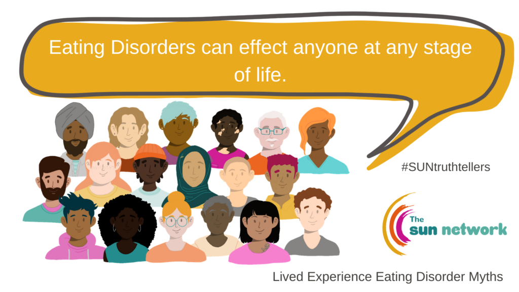 Group of people with the speech bubble with the statement: Eating disorders can effect anyone at any stage of life.